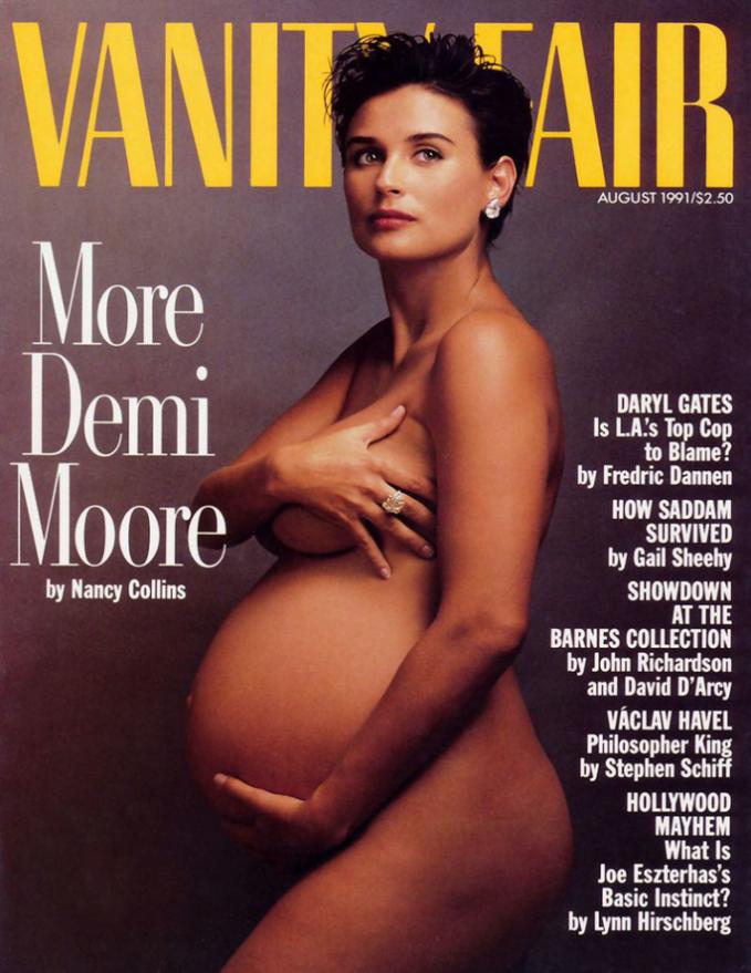 Demi Moore xuất hiện trên trang bìa Vanity Fair tháng 8/1991.