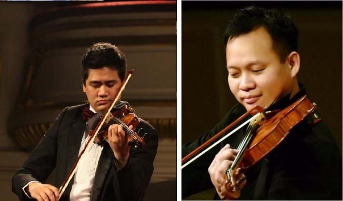 Nghệ sỹ Bùi Công Duy (trái) và nghệ sỹ Chương Vũ (phải) hội ngộ trong đêm nhạc đặc biệt. Nguồn: nguoidothi.net.vn