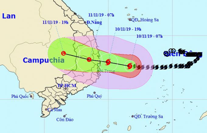Đường đi của bão Nakri theo nhận định của Trung tâm dự báo khí tượng thủy văn quốc gia. Ảnh:NCHMF.