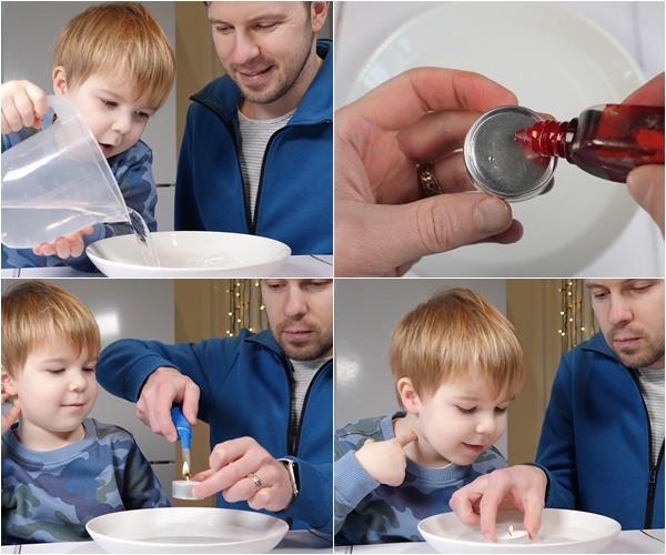 Đổ đầy nước vào bát, nhỏ chút màu thực phẩm vào đáy nến, châm nến và thả nến vào bát nước. Nguồn: thedadlab.com