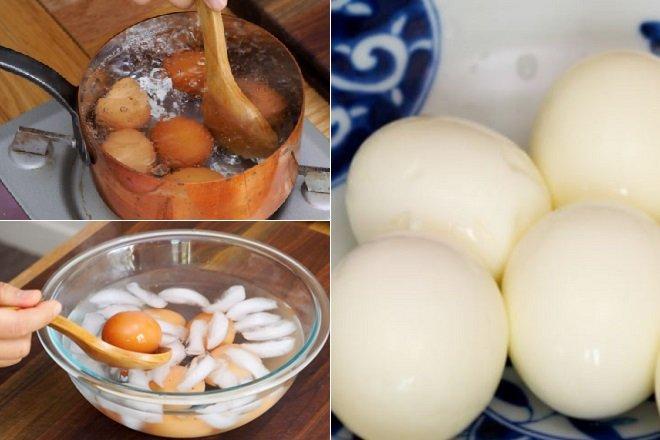 Cách luộc trứng siêu ngon, để trứng có lòng đào nằm chính giữa. Nguồn: webnauan.vn