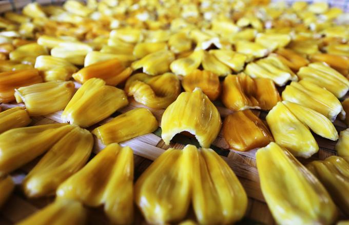 Những múi mít như ổ trứng gà vàng óng mật được phơi ra