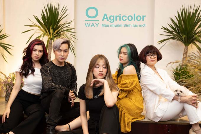 Agricolor dưới đôi mắt và bàn tay NTMT Việt (từ trái qua phải là 5 mẫu tóc do: NTMT Hiếu, Minh - Salon Oanh Hường, NTMT Ren Shimosakai - Été Saigon, NTMT Hồng Phượng, NTMT Tân - Tan's Hair Salon, NTMT Toni Hiếu thực hiện)
