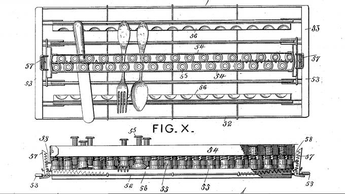 Một hình ảnh bản thiết kế máy rửa bát của Cochrane