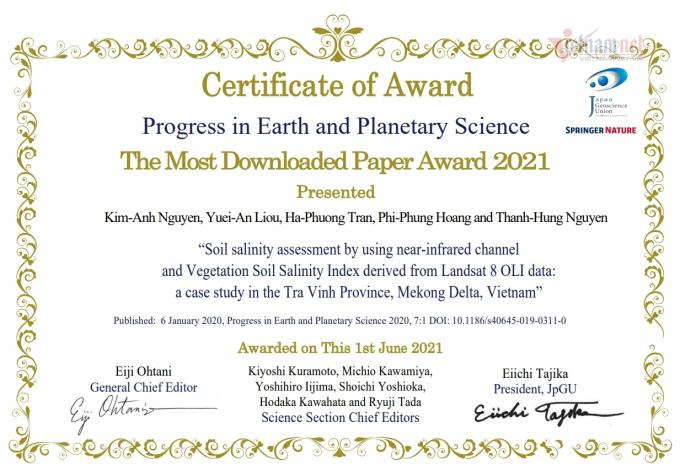 """Giải thưởng""""Bài báo khoa học được nhiều người quan tâm nhất năm 2021"""" cho nhóm nghiên cứu của TS Kim Anh và cộng sự. Nguồn: Vietnamnet.vn"""