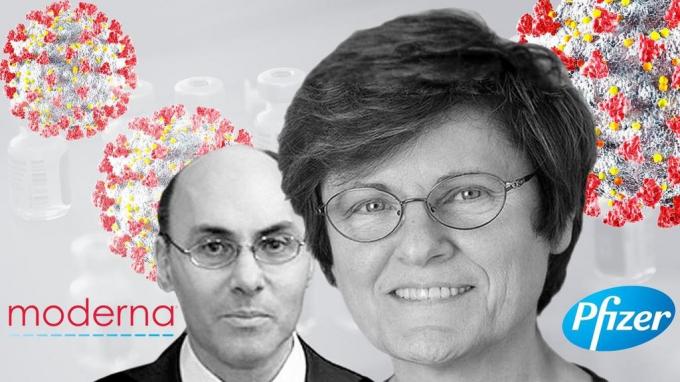 Bà Katalin Kariko (bên phải) và cộng sự Drew Weissman đã phát minh ra công nghệ mRNA mà Pfizer và Moderna sử dụng để bào chế vắc xin phòng Covid-19. Ảnh: Univision