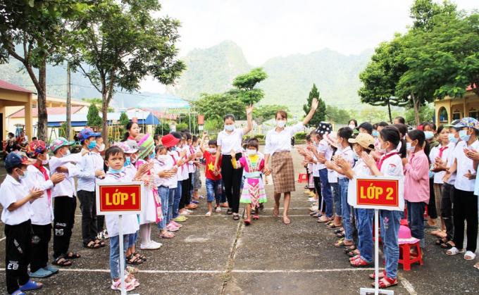 Trường Tiểu học Thượng Nung (Võ Nhai, Thái Nguyên) đón hơn 60 học sinh vào lớp 1 trong Lễ khai giảng năm học 2021-2022