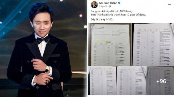 Ngày 7/9MC Trấn Thành có đăng tải 1000 trang sao kê tài khoản từ thiện trên fanpage cá nhân gây tranh cãi dữ dội.