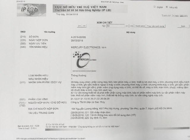 Ngày 25/5/2018, Cục Sở hữu trí tuệ chỉ mới có quyết định chấp nhận đơn của Công ty TNHH điện tử Sao Thủy chứ chưa cấpchứng nhận văn bằng bảo hộ sở hữu trí tuệ.
