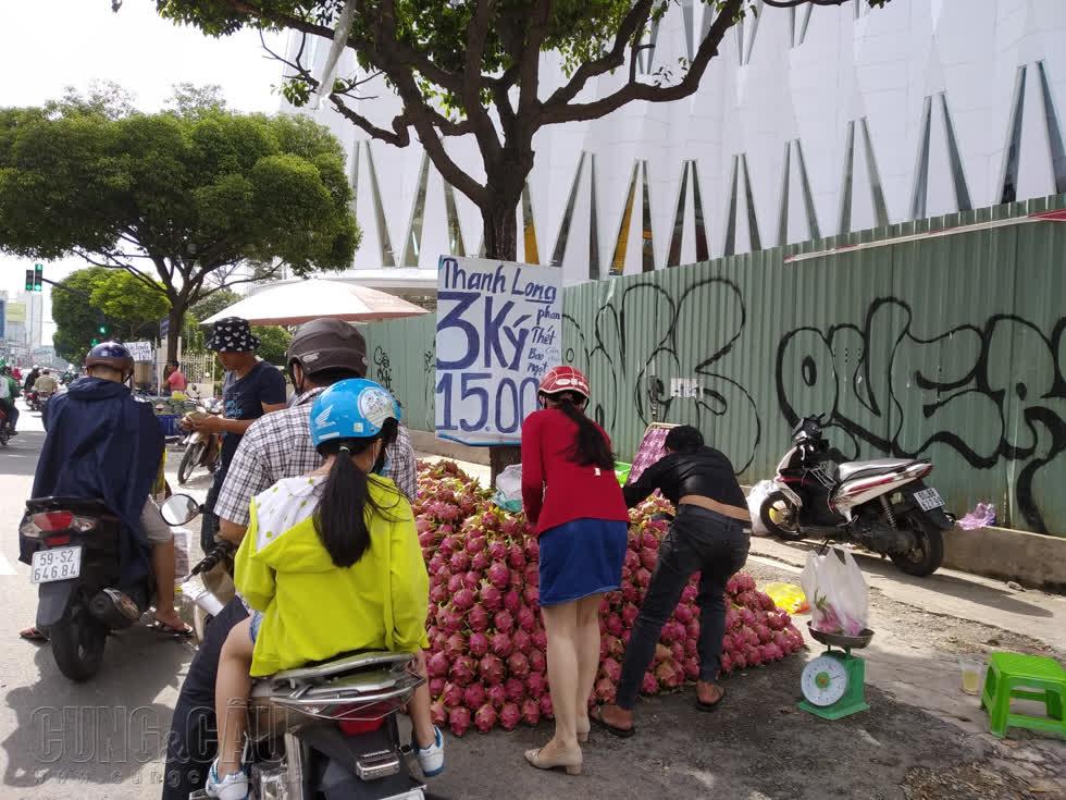 Với giá rẻ bất ngờ, thanh long Phan Thiết thu hút được sự chú ý của nhiều người đi đường.