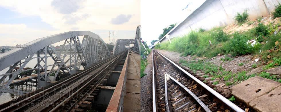 Tuyến đường ray của cầu đường sắt Bình Lợi