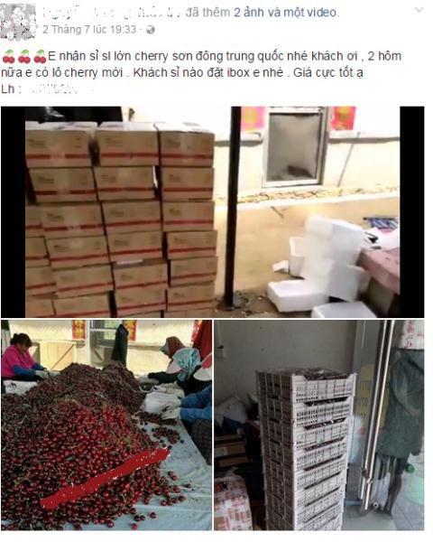 Cherry Trung Quốc tấn công thị trường Việt Nam và được chào bán rầm rộ trên Facebook. Ảnh: FB