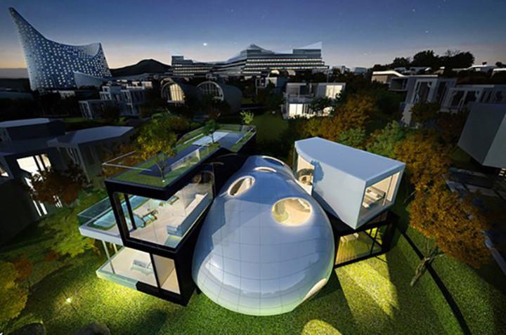 Cocoon House: Tọa lạc trên khu di sản UNESCO của đảo Jeju, ngôi nhà có vị trí đẹp nhìn ra biển với tên gọi Nhà kén/Cocoon house do Planning Korea, Hàn Quốc thiết kế là một ý tưởng lai ghép từ hình dạng núi lửa và tổ kén của thực thể sống.Việc xây dựng bắt đầu vào tháng 9/2012 và hoàn thành vào năm 2015.