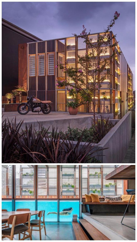 Công trình kiến trúc tại Sydney được thiết kế khá đơn giản với những gam màu trầm và các ô cửa trang trí bằng cây cối. Tuy nhiên điểm nhấn ở đây chính là một bể bơi chạy xuyên suốt qua trung tâm của ngôi nhà, thật đặc biệt phải không?