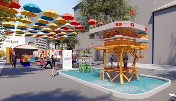 Mô hình nhà giàn DK1 dự kiến sẽ được đặt tại trục đường Nguyễn Huệ. Hình ảnh nhà giàn DK1 sẽ gợi nhắc về chủ quyền biển đảo thiêng liêng của tổ quốc