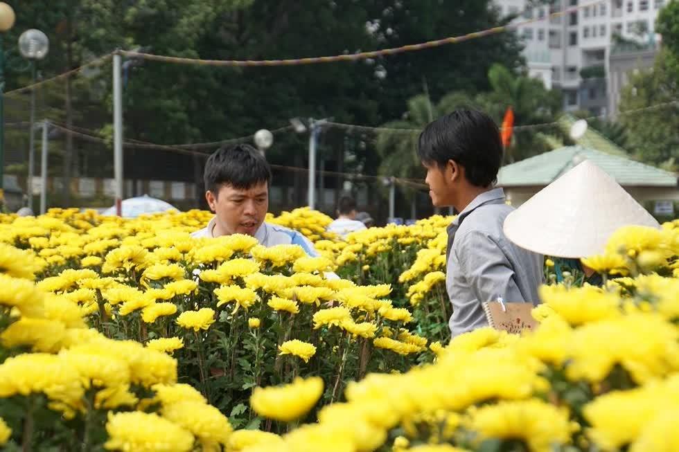 Anh Sơn cho biết, hoa được hạ giá xuống dưới 50%nhưng nhiều người vẫncốép giá.