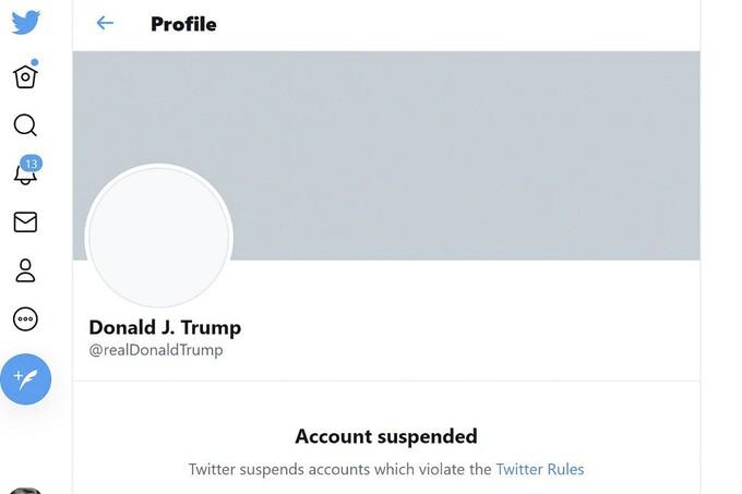 Tài khoản Twitter của ôngTrump bị đình chỉ.Ảnh chụp màn hình.
