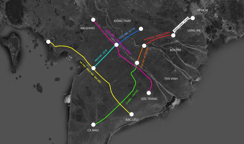Hạ tầng khu vực phía Nam sẽ là cao điểm đầu tư công trong năm 2021. Đồ hoạ: VnExpress
