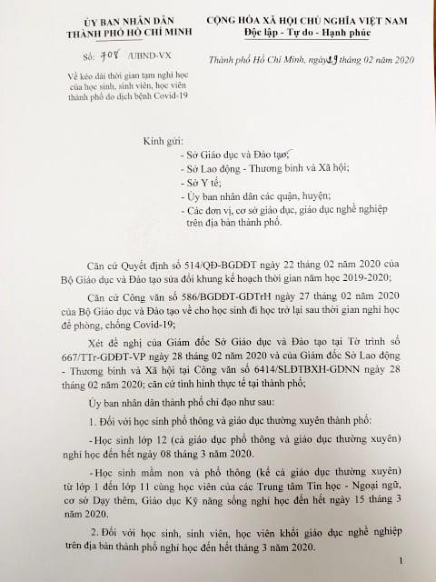 Văn bản cho học sinh sinh viên tiếp tục nghỉ học của UBND TP.HCM.