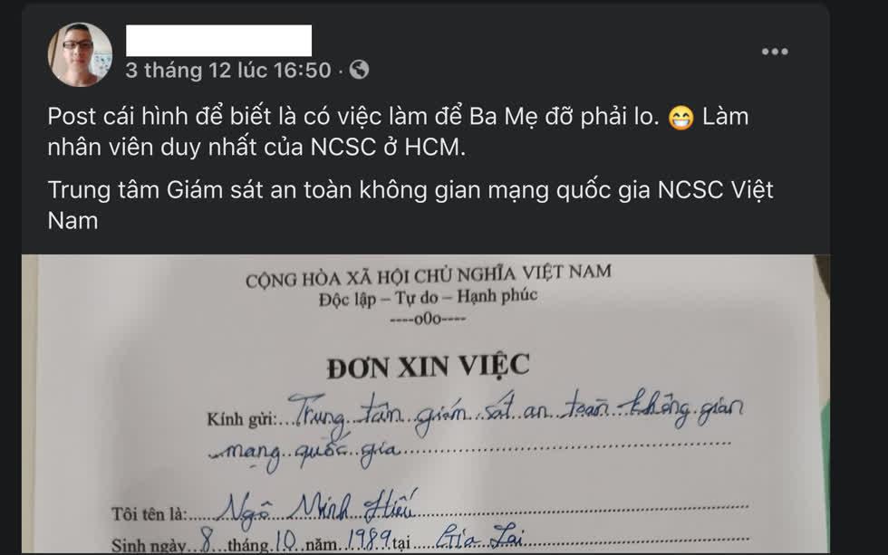 HiếuPC thông tin về việc sắp trở thành thành viên của NCSC. Ảnh FB
