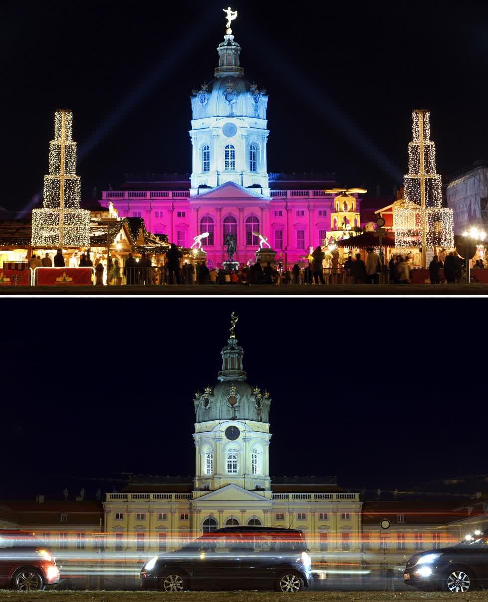 Bức ảnh chụp Cung điện Charlottenburg ngày 24/11/2008 với khu chợ ở Berlin và quảng trường vào ngày 24/11/2020. Ảnh: AP