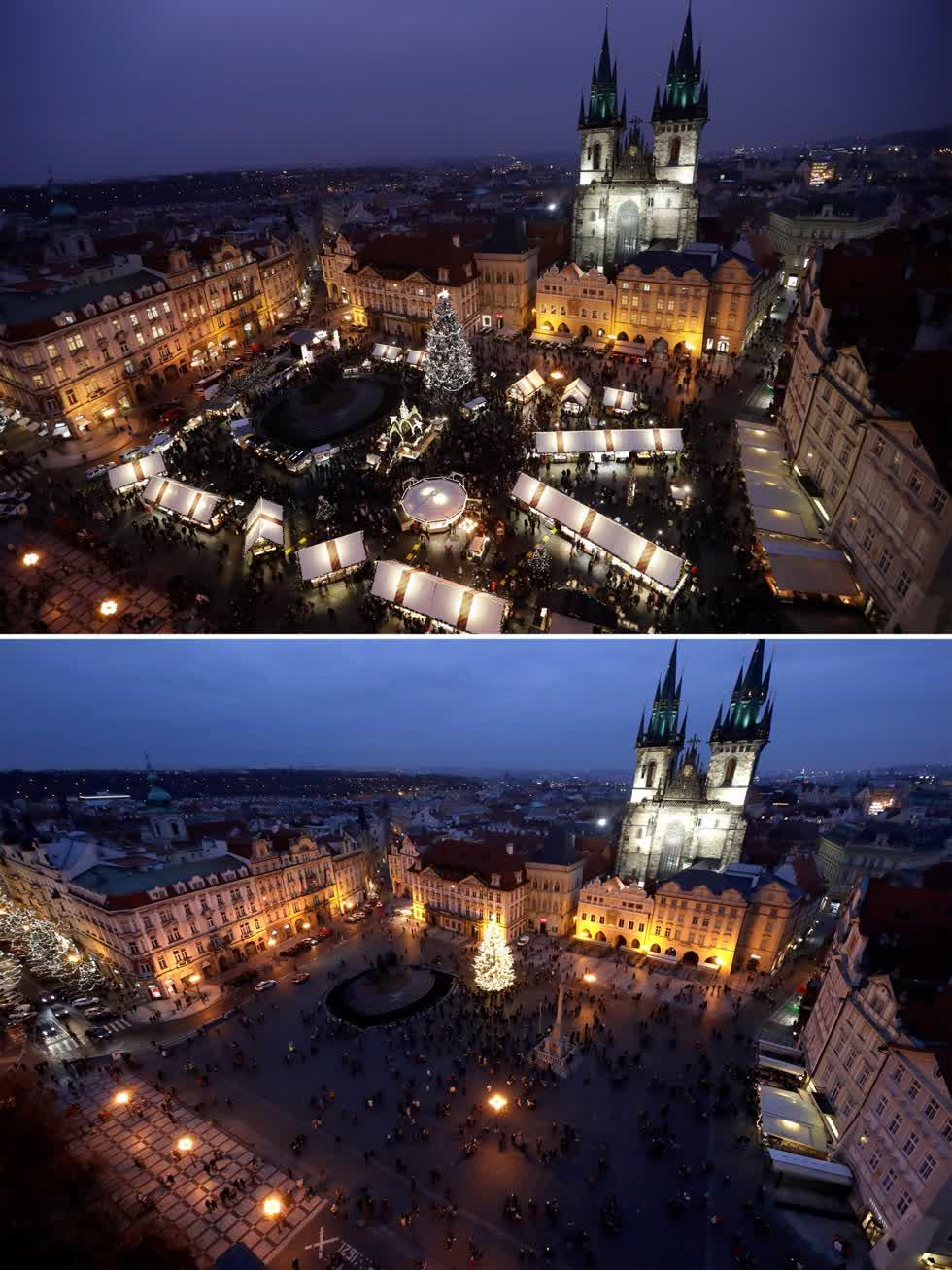 Bức ảnh từ ngày 5/12/2019, về khu chợ ở Prague, Cộng hòa Séc và quảng trường vào ngày 28/11/2020. Ảnh: AP