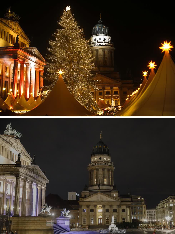 Hình ảnh kết hợp này cho thấy một bức ảnh từ ngày 25/11/2013, của quảng trường Gendarmenmarkt với khu chợ ở Berlin và quảng trường vào ngày 23/11/2020. Ảnh: AP