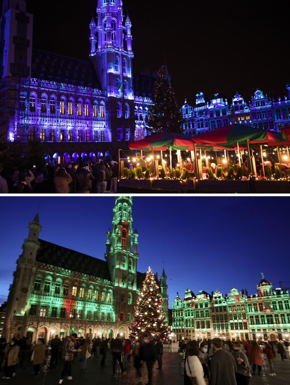 Bức ảnh từ ngày 18/12/2019, về Grand Place với khu chợ ở Brussels và quảng trường vào ngày 24 /11/2020. Ảnh: AP