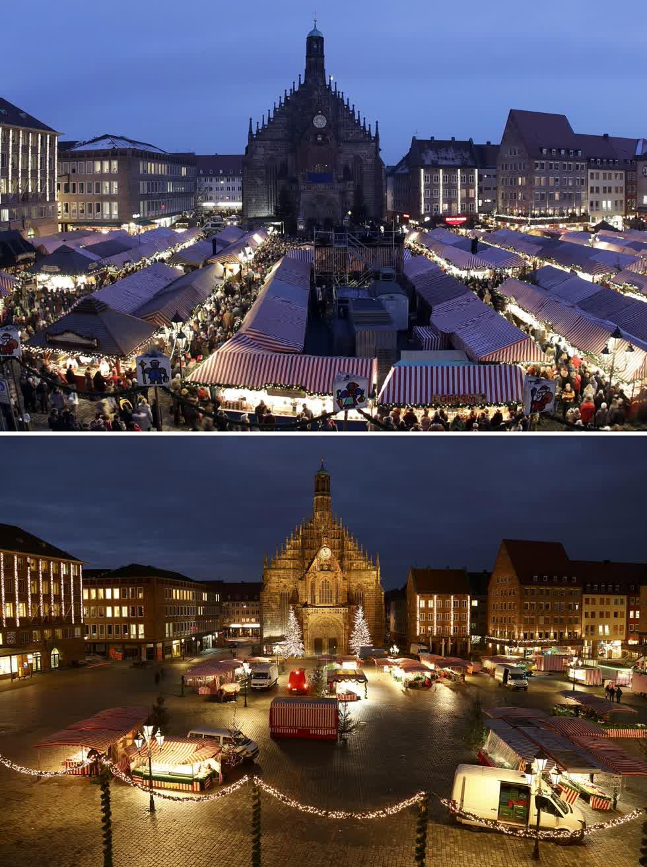 Hình ảnh kết hợp này cho thấy một bức ảnh từ ngày 1/12/2017, về quảng trường phía trước Nhà thờ Đức Mẹ với khu chợ ở Nuremberg, Đức và quảng trường vào ngày 23/11/2020. Ành: AP