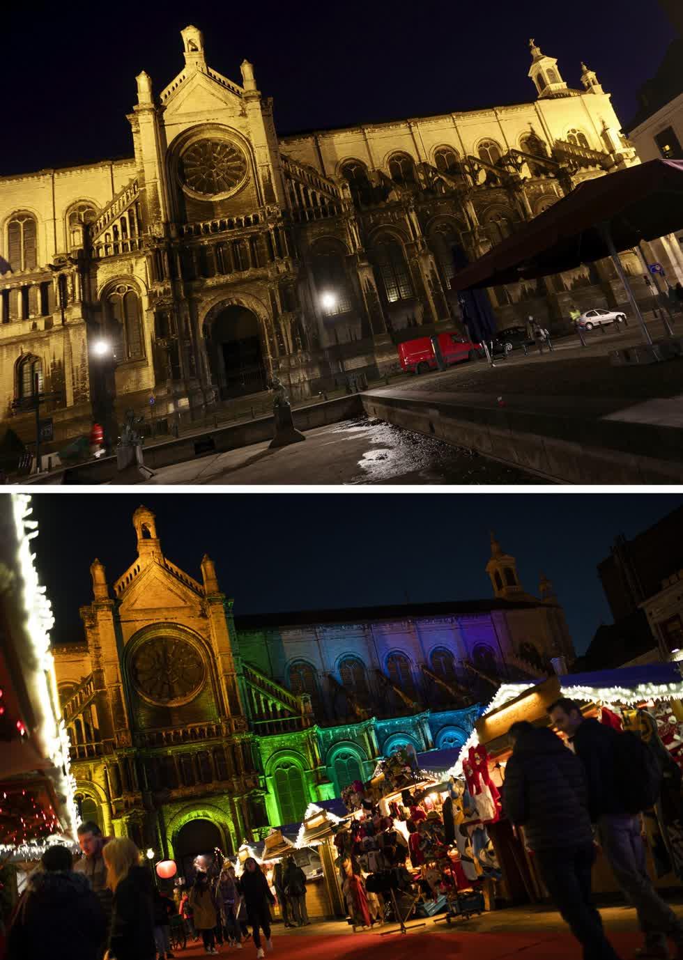 Bức ảnh từ ngày 18/12/2019, khu chợ bên cạnh nhà thờ Thánh Catherine ở Brussels và quảng trường vào ngày 24 /11/2020. Ảnh: AP