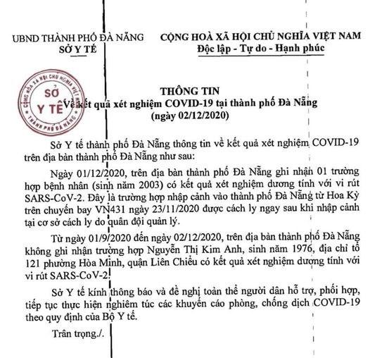 Thông tin của Sở Y tế TP. Đà Nẵng đêm 2/12.