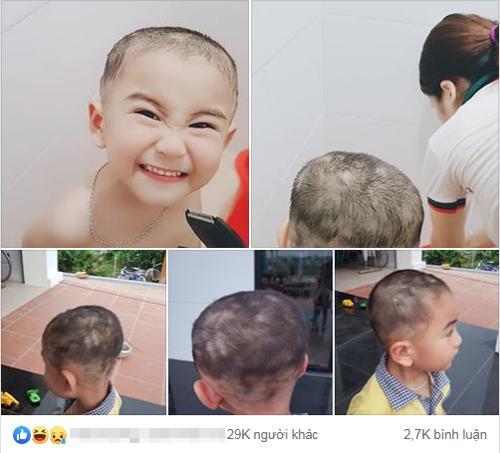 Chia sẻ lần đầu cắt tóc cho concủa một ông bố nhận được hàng chục nghìn lượt thích.Ảnh: FB.