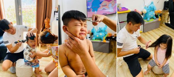Hải Băng gây chú ý khi đăng loạt ảnh 3 con được bố cắt tóc trong mùa dịch. Chị cả vui vẻ hợp tác thì cậu 2 và cậu 3 tỏ vẻ khá hốt hoảng dù được mẹ luôn bên cạnh vỗ về, động viên.