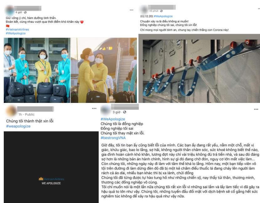 Nhiều tiếp viên hàng khôngđồng loạt xin lỗi trên mạng qua sự việc của BN1342. Nguồn: Zing