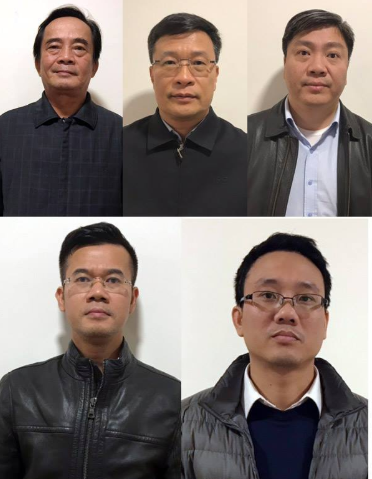 Đoàn Ánh Sáng, Ngô Duy Chính, Nguyễn Xuân Giáp (hàng trên) và Phạm Hồng Quang, Đặng Thanh Nam (hàng dưới). Ảnh: Bộ Công an.