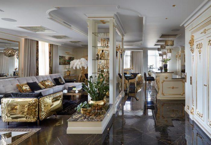 Bình hoa, đệm và các điểm nhấn nội thất khác của Maison Milan tràn ngập khắp không gianphòng khách của căn hộ.