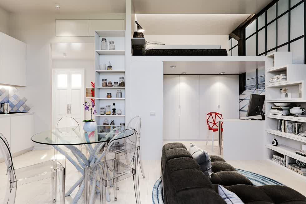 Căn hộ Studio nhỏ cho sinh viên thuê tại Milan có thiết kế hiện đại.