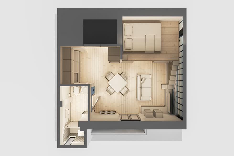 Mặt cắt với màu xám đậm cho phòng khách căn hộ nhỏ với không gian rất hạn chế.