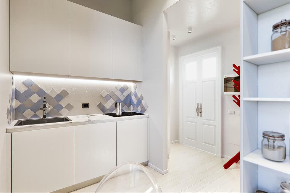 Nhà bếp nhỏ, đơn sắc màu trắng pha thêm chút màu xanh và xám.