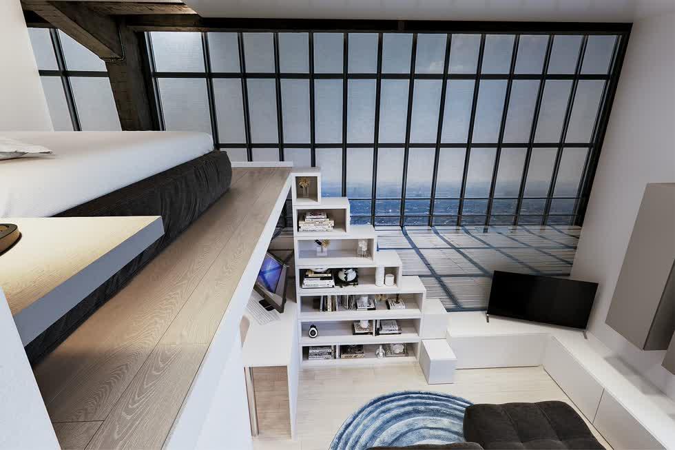 Cầu thang dẫn đến phòng ngủ trên gác xép cũng được tích hợp thêm kệ giúp tối đa hóa không gian lưu trữ.