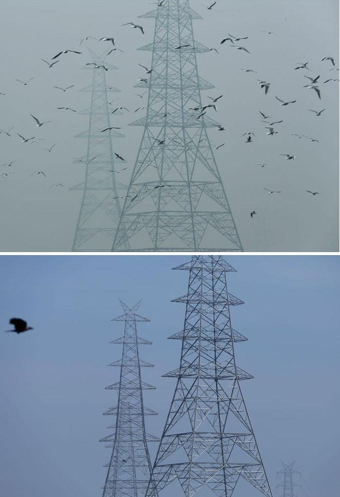 Theo CNNmức độ thấp hơn đáng kể của cả hạt vi mô độc hại (PM 2.5) và nitơ sau khi bị phong tỏa.Tại New Delhi, PM 2.5 đã giảm 71% trong một tuần.Các trụ điện ở New Delhi, Ấn Độ, được chụp vào ngày 30/10/2019 (ảnh trên) và ngày 13/4/2020 (ảnh dưới).