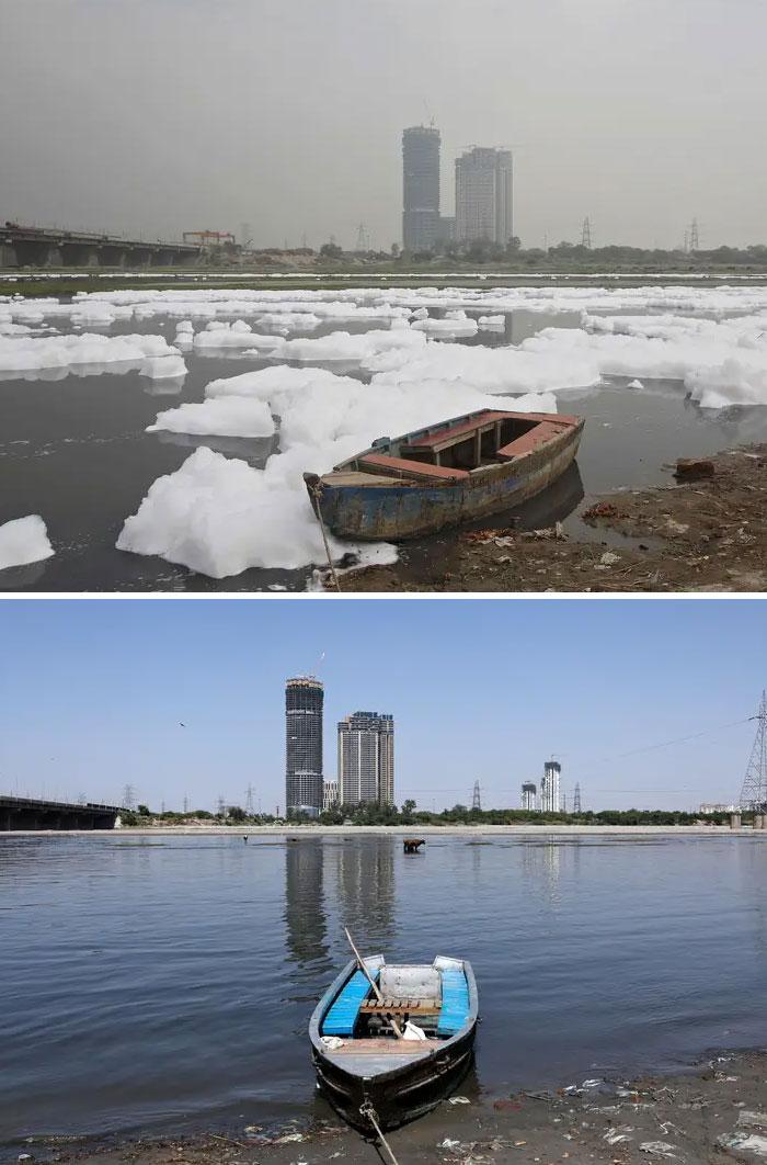 Năm ngoái, một lần nữa, Ấn Độ lạiđứng đầu bảng xếp hạngnhững nơi ô nhiễm nhất thế giới, nơi có 14 trong số 20 thành phố có không khí nguy hiểm nhất.Nhưng sông Yamuna ở New Delhi, Ấn Độ, được chụp vào ngày 8/4/2020 (phía dưới), trông không thể nhận ra được so với cùng một quan điểm từ ngày 21/3/2018.