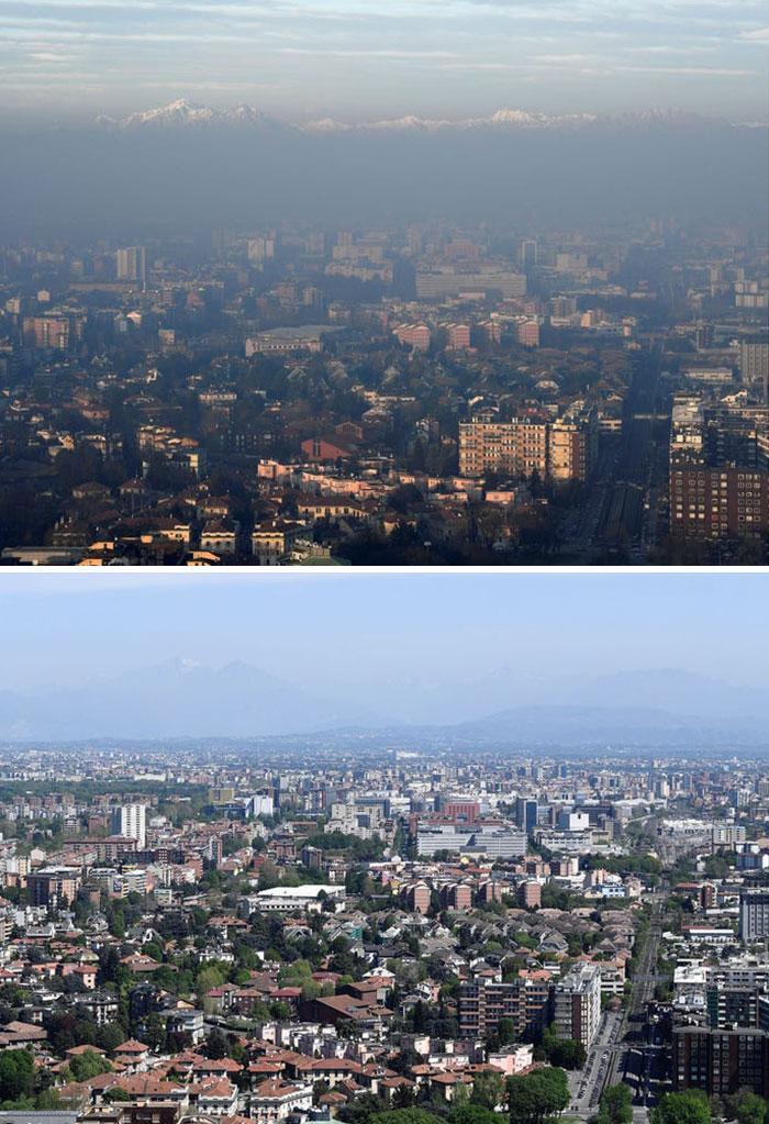 Milan, Ý được mệnh danh là thành phố ô nhiễm nhất châu Âu năm 2008 và khói bụi vẫn là vấn đề tái diễn,theoBBC.Nhưng sau khi ô nhiễm không khí giảm đáng kể trong thời gian phong tỏa, thành phố đã công bố một kế hoạch đầy tham vọng nhằm giảm sử dụng xe hơi sau khi việc dịch bệnh kết thúc.Bức ảnh bên trên của Milan được chụp vào ngày 17/4/2020, trong khi bức ảnh bên dưới được chụp chỉ bốn tháng trước.