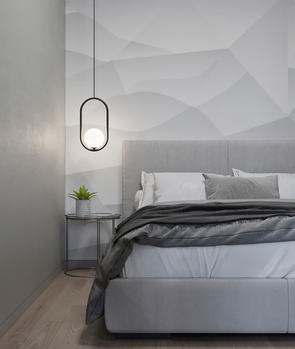 Phòng ngủ được sơn màu xám với phong cách công nghiệp đương đại.