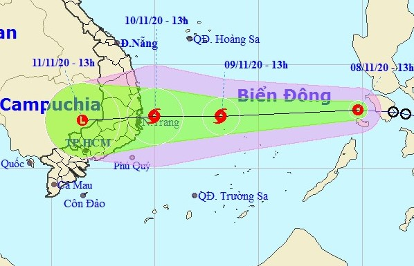 Dự báo vị trí đường đi của áp thấp nhiệt đới. Ảnh: BCĐPCTT