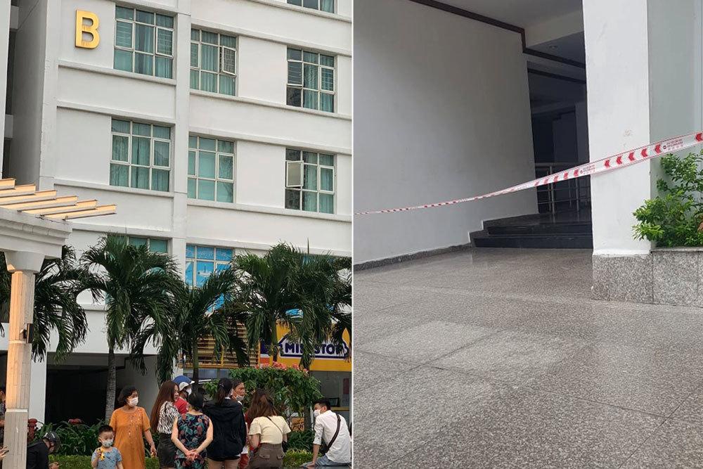 Phong tỏa một lô khu chung cư ở quận 7, nơi phát hiện thi thể phụ nữ lìa đầu.