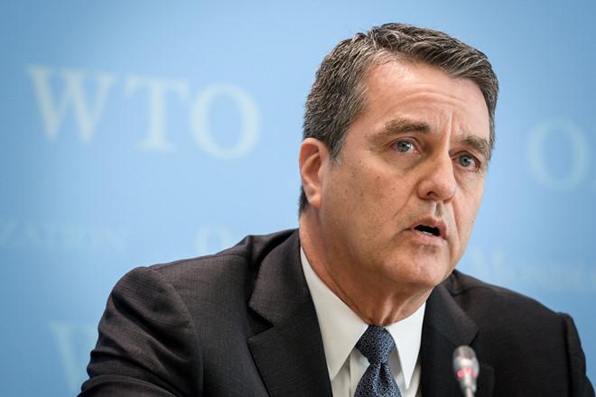 Tổng giám đốc WTO Roberto Azevedo trong một buổi họp báo. Ảnh: Reuters