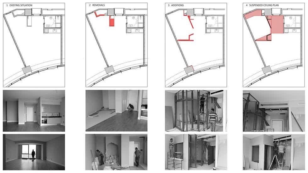Bản vẽ và hình ảnh cải tạo căn hộ 45m2 đã được thực hiện để tạo ra không gian rộng rãi hơn.