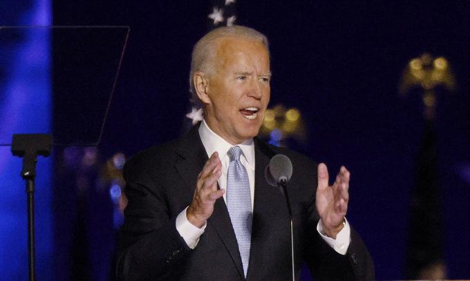 Biden phát biểu chiến thắng tối 7/11. Ảnh:Reuters.