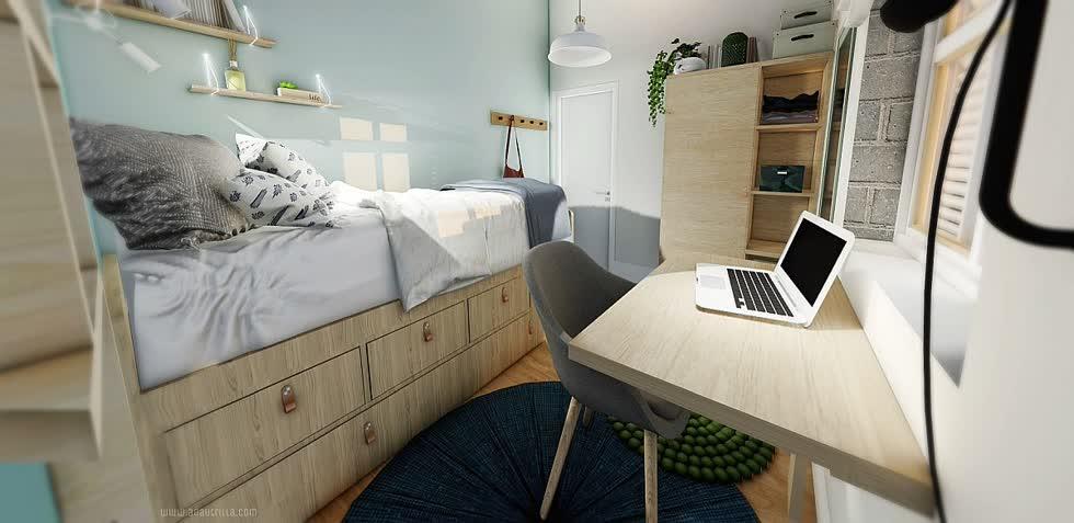 Không gian làm việc, tủ quần áo và vật dụng lưu trữ bổ sung trong phòng ngủ công nghiệp nhỏ.